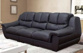 CasaStyle - Zavia 3 Seater Sofa Set in Leatherette (Black)