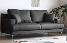 CasaStyle - Clorina 3 Seater Sofa Set in Leatherette (Dark Grey)