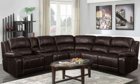 CasaStyle Chesto Six Seater Leatherette Corner Recliner Sofa Set (Brown)