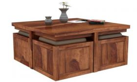 Casastyle Grave Teakwood Coffee Table With Four Ottomons (Teak Polish)