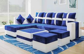 CasaStyle- Stylion 8 Seater Fabric L Shape Sofa Set (Blue-White)