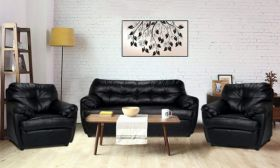 CasaStyle Romaily  Five Seater 3+1+1  Sofa Set (Black)