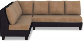CasaStyle Audrey Six Seater L shape Sofa Set Camel-Black