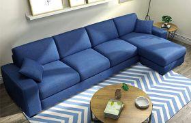 CasaStyle Adonoy 5 Seater Fabric L Shape Sofa Set (Dark Blue)