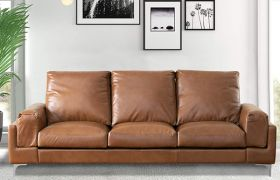 Casastyle Alburn 3 Seater Sofa Set for Living Room in Leatherette (Camel)