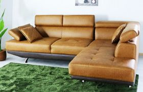CasaStyle Aldiara 4 Seater Leatherette L Shape Sofa Set (Tan-Brown)