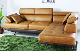 CasaStyle Aldiara 4 Seater Leatherette L Shape Sofa Set (Tan-Brown)