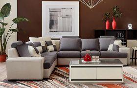 CasaStyle 7 Seater Alesandro Corner Fabric L Shape Sofa Set (Dark Grey-Cream)