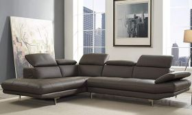 CasaStyle -Alvino 5 Seater LHS L Shape Sofa Set in Leatherette with Adjustable Headrest & Armrest (Grey)