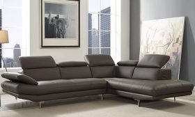 CasaStyle -Alvino 5 Seater RHS L Shape Sofa Set in Leatherette with Adjustable Headrest & Armrest (Grey)