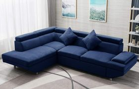 CasaStyle Alvora 4 Seater Fabric L Shape Sofa Set (Blue)