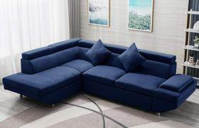 CasaStyle Alvora 4 Seater Fabric L Shape Sofa Set (Blue)