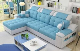 CasaStyle Angelina 4 Seater Fabric L Shape Sofa Set (Blue)