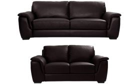 CasaStyle Ben Five Seater 3+2 Sofa Set in Leatherette (Brown)