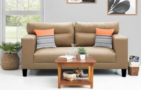 CasaStyle Barcelo 3 Seater Leatherette Sofa Set (Camel)