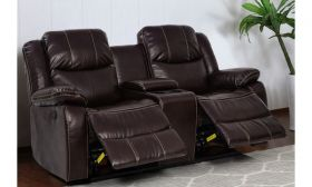 CasaStyle Barissa 2 Seater Recliner Sofa in leatherette with Storage (Brown)