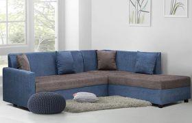 CasaStyle Canpora 5 Seater Fabric L Shape Sofa Set (Blue-Grey)