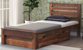 CasaStyle Carleth Single Size Teak wood Bed With Storage
