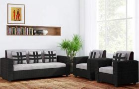 CasaStyle Casaliven 5 Seater Fabric 3+1+1 Sofa Set (Grey-Black)