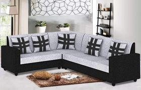 CasaStyle Casaliven Corner 6 Seater L Shape Sofa Set (Grey-Black)