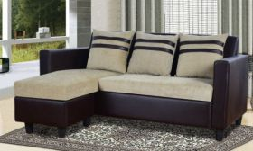 CasaStyle Minzee 4 Seater L Shape Interchangeable Sofa (Beige-Brown)