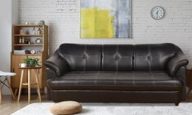 CasaStyle Royce Three Seater Leatherette sofa (Black)