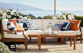 CasaStyle Warnero 5 Seater Corner Teakwood Sofa Set (Teak Polish)