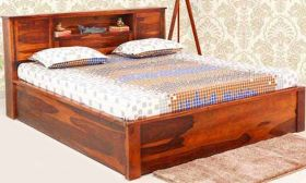 CasaStyle Alvaro Teak Wood Bed with Box Storage (Teak Polish)