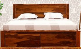 CasaStyle Argentin Teak Wood Bed with Drawer Storage (Teak Polish)
