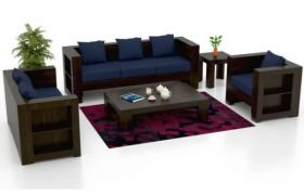 CasaStyle Branley Six Seater 3+2+1 Teakwood Wooden Sofa Set (Walnut Polish)