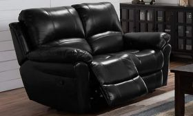 Casastyle Cobster Two Seater Recliner Sofa in Leatherette (Black)