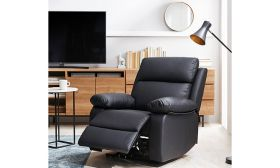 CasaStyle Denley One Seater Recliner in Leatherette (Black)