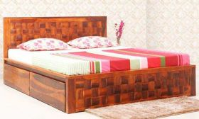 CasaStyle Denver Teak Wood Bed with Drawer Storage (Teak Polish)