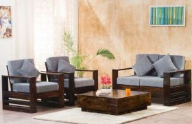CasaStyle Frenzee Four Seater 2+1+1 Teakwood Wooden Sofa Set (Walnut Polish)