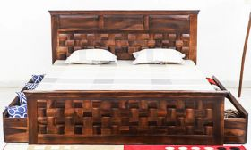 CasaStyle Hariss Teak Wood Bed with Drawer Storage (Teak Polish)