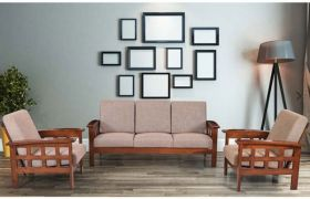 CasaStyle Indiga Five Seater 3+1+1 Teakwood Wooden Sofa Set (Teak Polish)