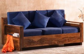 CasaStyle Jonley 3 Seater Teakwood Sofa with Fabric Upholstered (Teak Polish)