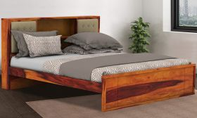 CasaStyle Kinglow Teak Wood Bed with Drawer Storage (Teak Polish)