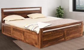 CasaStyle Mortany Teak Wood Bed with Box Storage (Teak Polish)