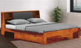CasaStyle Mortenza Teak Wood Bed with Drawer Storage (Teak Polish)