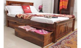 CasaStyle Mosco Teak Wood Bed with Drawer Storage (Teak Polish)