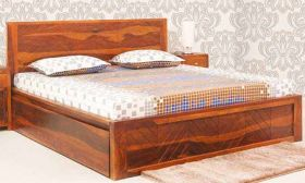 CasaStyle Nairobi Teak Wood Bed with Drawer Storage (Teak Polish)
