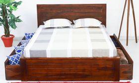 CasaStyle Sergio Teak Wood Bed with Drawer Storage (Teak Polish)