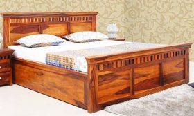 CasaStyle Tokya Teak Wood Bed with Box Storage (Teak Polish)