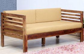 CasaStyle Tornie 3 Seater Teakwood Sofa (Teak Polish)