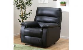 CasaStyle Venice One Seater Recliner Sofa in Leatherette (Black)