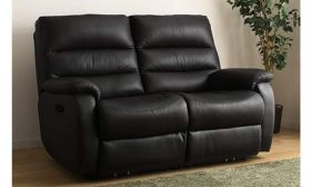 CasaStyle Venice Two Seater Recliner Sofa in Leatherette (Black)