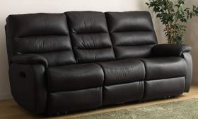 CasaStyle  Venice Three Seater Recliner Sofa in Leatherette (Black)