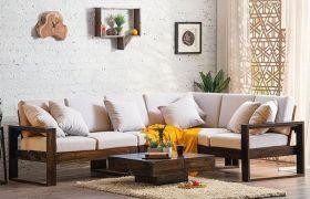 CasaStyle Verna 5 Seater Corner Teakwood Sofa Set (Teak Polish)