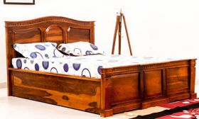 CasaStyle Victoria Teak Wood Bed with Drawer Storage (Teak Polish)